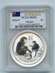 2016 P $1 Australia Silver 1oz Monkey PCGS MS69 Flag