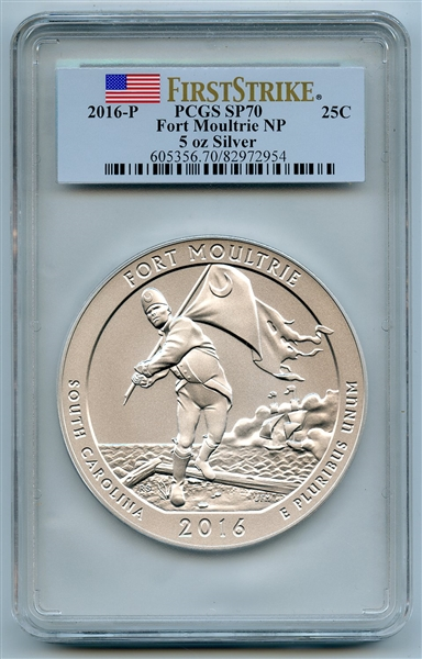 2016 P 25C Silver Fort Moultrie National Park 5oz Quarter PCGS SP70 First Strike