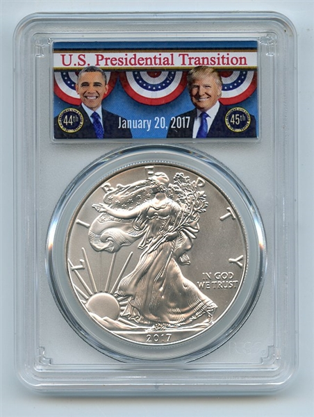 2017 $1 American 1oz Silver Eagle PCGS MS70 Obama/Trump Transition