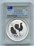 2017 P $1 Australian Silver Rooster Lunar Dollar PCGS MS70 First Strike