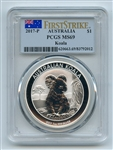 2017 P $1 Australian 1 oz Silver Koala PCGS MS69 First Strike