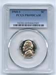 1968 S 5C Jefferson Nickel PCGS PR69DCAM