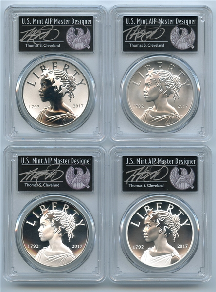 2017 Silver American Liberty Medal 4 Coin Set PCGS 69 FS Thomas Cleveland Black