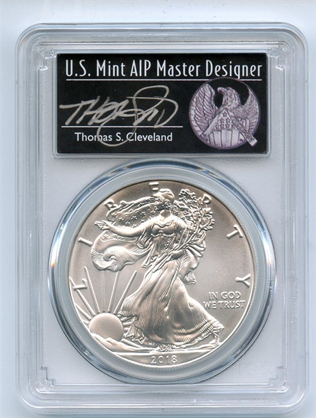 2018 $1 American Silver Eagle PCGS MS70 FS Thomas Cleveland 1 of 1000 Freedom