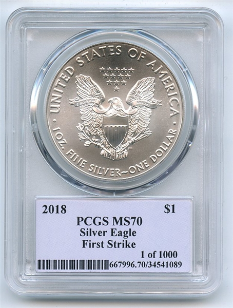 2018 $1 American Silver Eagle PCGS MS70 FS Thomas Cleveland 1 of 1000 Native