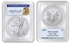 2018 $1 American Silver Eagle PCGS MS70 Thomas Cleveland Native First Day FDOI