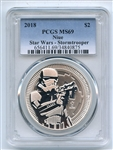 2018 $2 Niue 1 oz Silver Star Wars Stormtrooper PCGS MS69