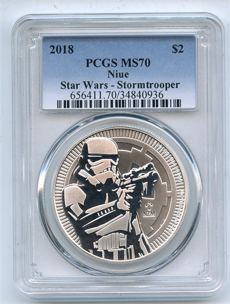 2018 $2 Niue 1 oz Silver Star Wars Stormtrooper PCGS MS70