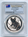 2018 P $1 Australia 1oz Silver Koala PCGS MS69 First Strike