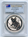 2018 P $1 Australia 1oz Silver Koala PCGS MS70 First Strike