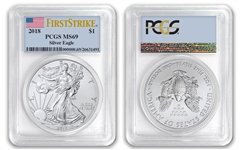 2018 $1 American Silver Eagle Dollar PCGS MS69 First Strike