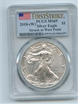 2018 (W) $1 American Silver Eagle Struck at Westpoint PCGS MS69 First Strike