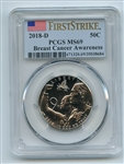 2018 D 50C Breast Cancer Awareness Commemorative PCGS MS69 First Strike