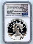 2017 W 1oz Silver 225th Anniversary Liberty Medal NGC SP69 Enhanced Mint Error