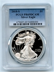 2018 S $1 Proof Silver Eagle 1 oz PCGS PR69DCAM