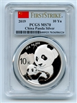 2019 10Yn 30Gram Silver Panda PCGS MS70 First Strike
