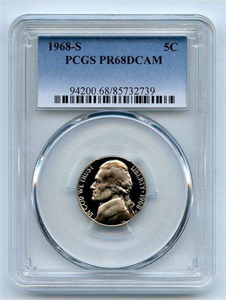 1968 S 5C Jefferson Nickel PCGS PR68DCAM