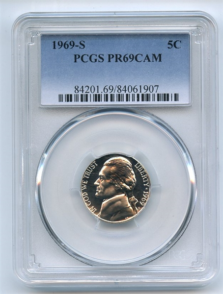 1969 S 5C Jefferson Nickel PCGS PR69CAM