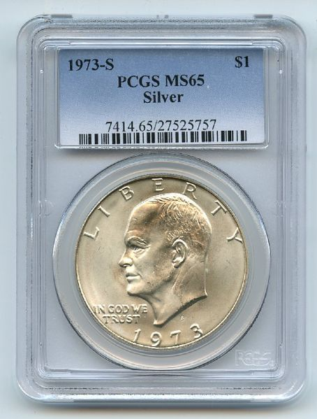 1973 S $1 Silver Ike Eisenhower Dollar PCGS MS65