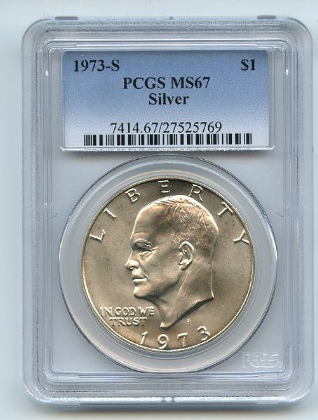 1973 S $1 Silver Ike Eisenhower Dollar PCGS MS67
