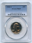 1968 S 25C Washington Quarter PCGS PR69