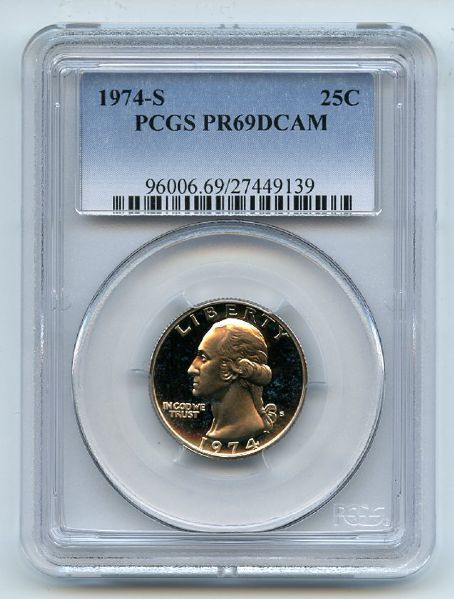 1974 S 25C Washington Quarter Proof PCGS PR69DCAM
