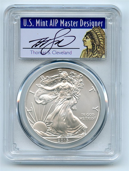 2013 (S) $1 American Silver Eagle Dollar 1oz PCGS MS70 Thomas Cleveland Native