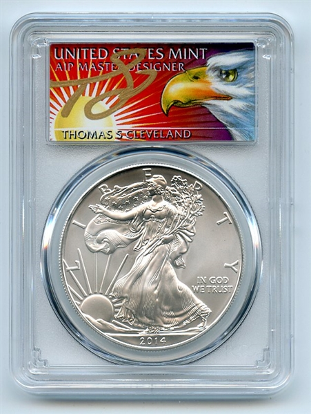 2014 (S) $1 American Silver Eagle Dollar 1oz PCGS MS70 Thomas Cleveland Eagle