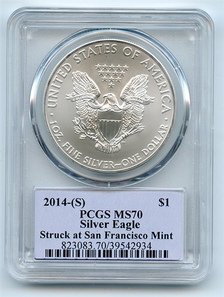 2014 (S) $1 American Silver Eagle Dollar 1oz PCGS MS70 Thomas Cleveland Native