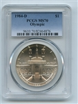 1984 D $1 Olympic Silver Commemorative Dollar PCGS MS70