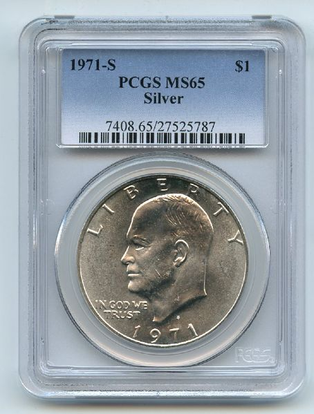 1971 S $1 Silver Ike Eisenhower Dollar PCGS MS65