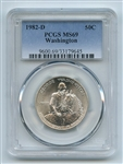 1982 D 50C George Washington Commemorative PCGS MS69
