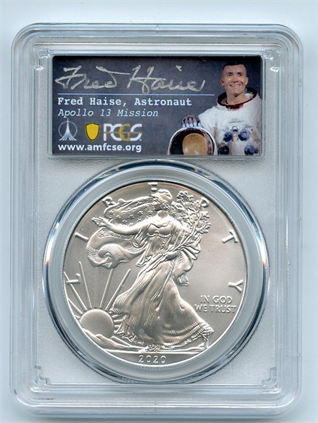 2020 (P) $1 Silver Eagle Emergency Issue PCGS MS70 FDOI Fred Haise