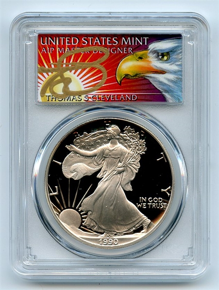 1990 S $1 Proof American Silver Eagle 1oz PCGS PR69DCAM Thomas Cleveland Eagle
