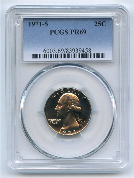 1971 S 25C Washington Quarter PCGS PR69