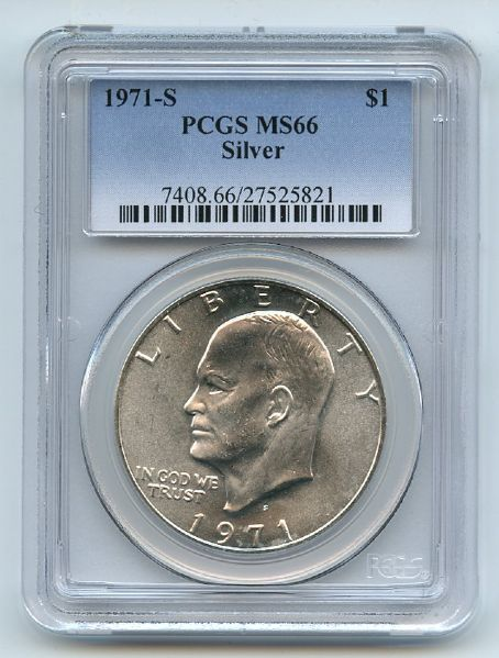 1971 S $1 Silver Ike Eisenhower Dollar PCGS MS66